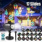 Proiettore Luci Natale LED, Proiettore Lampada con 17 Diapositive Patterns, Impermeabile IP65 con Telecomando, Interno & Esterno Natale Decorazione per Halloween, Natale, Matrimonio, Festa, Giardino