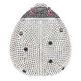 Bonjanvye Cute Ladybird Clutch for Girls Lovely Crystal Handbags AB Silver