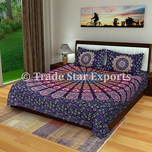 Copriletto mandala indiano, set di biancheria da letto in cotone, con due federe pattern9