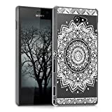 kwmobile Hülle für Sony Xperia M2 - Crystal Case Handy Schutzhülle Kunststoff - Backcover Cover klar Blume Design Weiß Transparent
