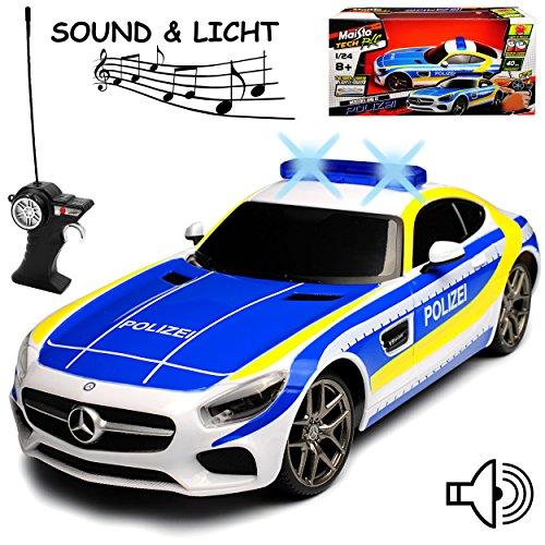 Maisto Mercedes-Benz AMG GT Polizei mit Licht und Sound 27 MHz RC Funkauto - sofort startklar - 1/24 Modell Auto mit individiuellem Wunschkennzeichen
