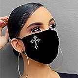 Gl?nzend Strass Mundschutz mit Motiv Diamant Print Maske Waschbar Wiederverwendbar Stoffmaske Mund-Nasen Bedeckung…