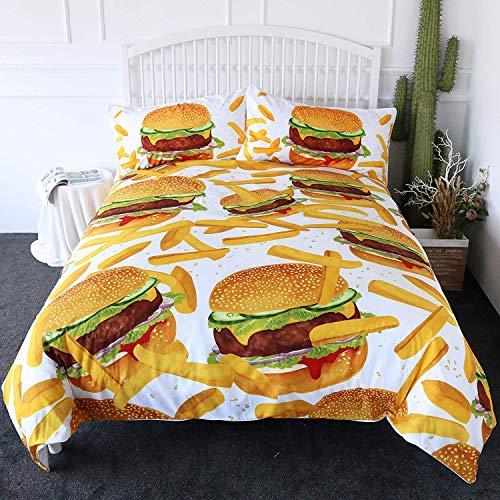 ZOMOY Bettwäscheset, Hamburger Fries Bettwäsche 3D Giant Burger 3-teilig Fun Fast Food Kreative Tagesdecken 2 Pillow Shames