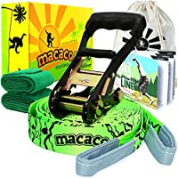 "Macaco Slackline Complete Set 16 Metre (52'x 2"") and Booklet, Super Strong Ratchet With Grip, Tree Protectors and Cotton Bag. Very Easy To Set Up."