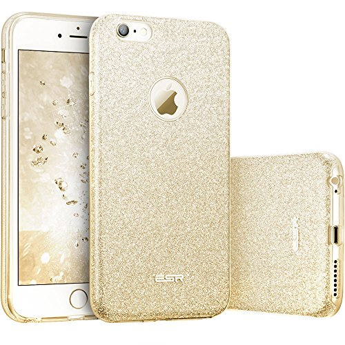 ESR Coque pour iPhone 6s/6, Coque Silicone Paillette Strass Brillante Glitter de Luxe, Bumper Housse Etui de Protection [Anti Choc] pour Apple iPhone 6/6s (Or Champagne Pailleté)