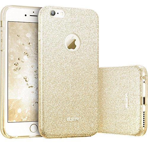 ESR iPhone 6 / 6S Hülle (4,7 Zoll), Glitzer Schutzhülle [Weiche TPU Abdeckung + Glitzer Papier + PC innere Schicht] [DREI in Einem] Hülle für iPhone 6/6S (Champagner Gold)