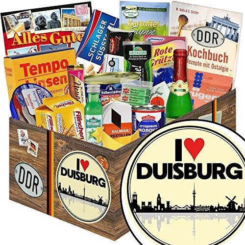 I love Duisburg | Spezialitäten Geschenk | Geschenkkorb | I love Duisburg | DDR Geschenk | Geschenke für Duisburg Liebhaber | Duisburg Geburtstag Geschenk | inkl. DDR Kochbuch