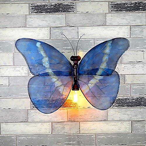 Hines Industrielle Retro Wasserleitungs-Wand, die blaues Schmetterlings-Rohr beleuchtet, beleuchtet Wandlicht-Stangen-Netto-Korridor-Gang personalisierte dekorative Wandleuchte-Flügel E27 Edison -
