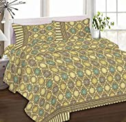 IBed Home Printed bedsheets 3Piece bedding Sets King Size, EAT-4506-FRONT-BEIGE