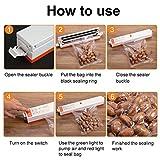 Vakuumiergeräte, LASUAVY Klein Folienschweißgerät für Lebensmittel / Fleisch/ Früchte Bleiben bis zu 8x länger Frisch - Vakuumierer Natürliche Aufbewahrung Vakuum Maschine Inkl. 30 Profi-Folienbeutel - 4