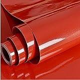 Hode Folia samoprzylepna do mebli samoprzylepna błyszcząca czerwona 30 cm x 3 m wodoszczelna folia do mebli tapeta folia kuch