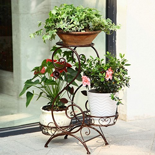 JKL-Blumenständer Schmiedeeisen europäischen multifunktionale Indoor multifunktionale Wohnzimmer Balkon Boden Regal Boden grün hängende Orchidee Pflanzer Rack (Farbe : Bronze) (Hängende Orchidee Pflanzer)