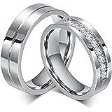 Bishilin Gioielli Anello Acciaio 6Mm Anelli Fidanzamento Coppia per con 2 Rings