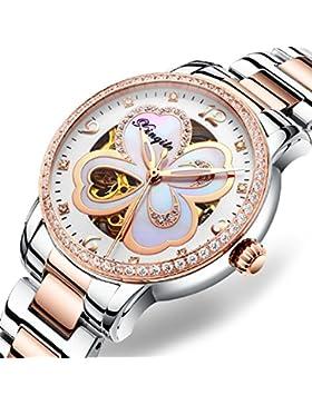 Damenuhr/Automatikuhr/Leuchtende Skelett wasserdichte Armbanduhr-B