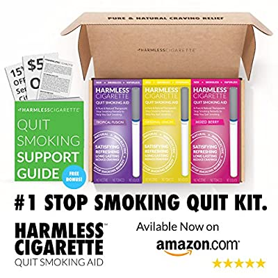 Full Quit Smoking Kit / Satisfy & Reduce Cravings / Includes FREE Guide & Hypnosis Audiobook / Perfect To Use With Nicotine Patches, Nicotine Gum, Lozenges, Smoking Cessation Medication from Harmless Products Co.