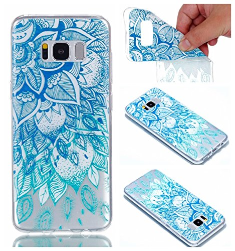 Samsung Galaxy S8 Hülle Case, Cozy Hut® [Relief Series] Ultra Dünn [Crystal Case] Transparent Soft-Flex Handyhülle / Bumper-Style Premium-TPU Silikon / Perfekte Passform / Kratzfest Schutzhülle für Samsung Galaxy S8 Case, Samsung Galaxy S8 Cover, Galaxy S8 Case, Galaxy S8 Cover, S8 Case, S8 Cover - blaue Blätter