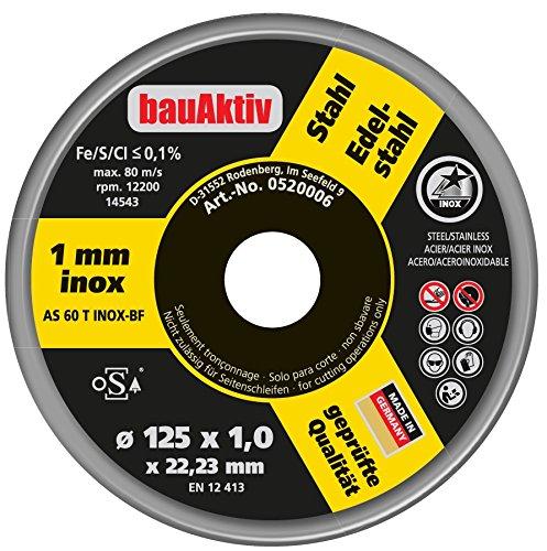 Bau-Aktiv Trennscheibe 12x Ø125 Metall Edelstahl 1mm extra dünn für Winkelschleifer AS 60 T INOX-BF Freihand oSa geprüft