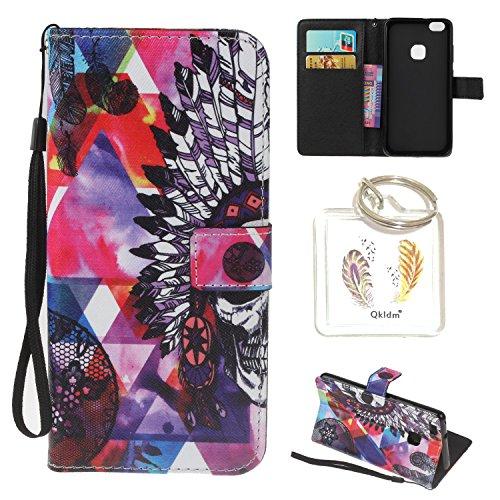 Preisvergleich Produktbild Huawei P10 Lite PU Silikon Schutzhülle Handyhülle Painted pc case cover hülle Handy-Fall-Haut Shell Abdeckungen für Smartphone Huawei P10 Lite + Schlüsselanhänger (/T) (4)