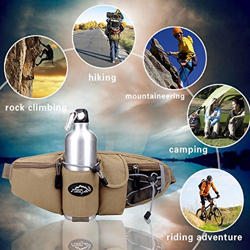 EchoFun Outdoor-taktische Taille/Fanny Bag Fashion haltbar Unisex Runner Camping Wandern Bike Taille Backpackack Wasser Flasche Halter verstellbarer Gürtel Sporttasche khaki