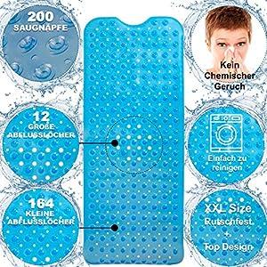 Schexy Badewannenmatte,Duschematte, rutschfeste, mit 200 Saugäpfen,Antirutsch badewanneneinlage für Kinder, Erwachsene und Haustiere, XXL Größe 100×40 cm,transparent blau,geruchlos, Umweltfreundlichツ
