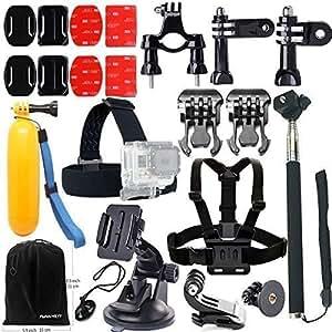 FUNNYKIT 11-en-1 Accessoires Kit pour gopro Casque Harnais + ceinture thoracique + montage en tête Strap + Manfrotto kit accessoire pour Gopro Hero 4 Hero3 session 3+ Hero 2/1 Caméra