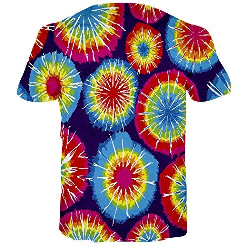 Leapparel Unisex 3D Digital Imprimé Personnalisé Manche Courte T-Shirt Personnalisé Tee-Shirts Tie Dye 2