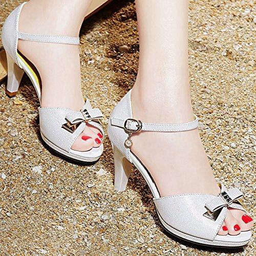 XY&GKSandalen Sommer Ferse Ferse Ferse Leder Sandalen, komfortabel und schön 39 white