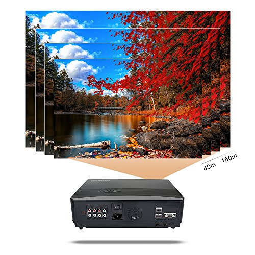 Bargain Projector, Video Projector HD 1080p 3300 Lumen LCD Projectors 1280*800 Multimedia Home Cinema Theater Support HDMI USB VGA Laptop Smartphone for Games and Parties (Black) Online