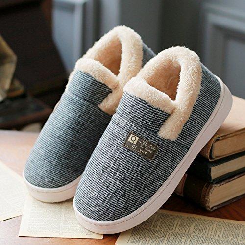 DogHaccd pantofole,Piscina inverno paio di pantofole di cotone uomini e donne pacchetto completo con il caldo soggiorno in peluche spesse pantofole inverno scarpe di cotone Nero Grigio2