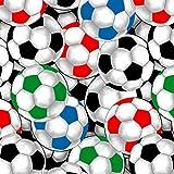 David Textiles DT22 Fußballstoff, bunte Fußbälle, 100 %