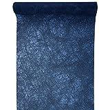 PARTY DISCOUNT Neu Tischläufer Faseroptik Marine Blau, 30cm x 5m