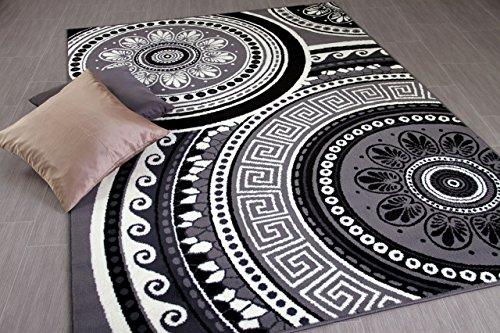 TRENDLINE - Alfombra Moderna - Patrón Mandala - Blanco Negro - 5 tamaños