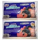 100 Resealable Food & Freezer Bags/2 pks of 50