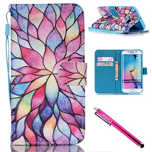 Firefish Galaxy S6 Edge Fall, Ständer Flip [Slots] Brieftasche Cover Double Layer Bumper Shell mit Magnetverschluss Case Strap für Samsung Galaxy S6 Edge for Samsung Galaxy S6 Edge Lotus