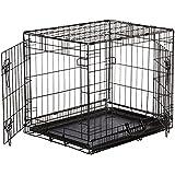 AmazonBasics Hundekäfig mit 2 Türen, Metall, zusammenklappbar, Gr. S