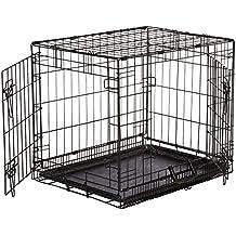 AmazonBasics - Gabbia in metallo pieghevole per cani, Portiera Doppia - Piccolo