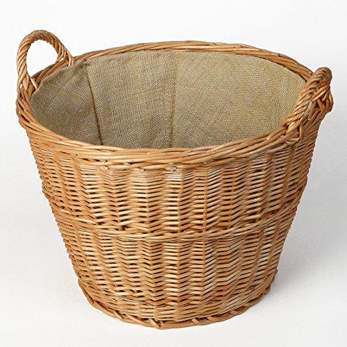 Erntekorb, Holzkorb aus geschälter Weide mit Jute Ø 48 cm