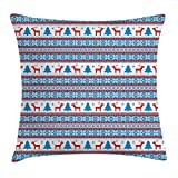 Christmas Throw Pillow Cushion Cover, Traditional Folkloric Knit Style Image Holiday Seasonal Design Celebration Theme, Decorative Square Accent Pillow Case, 18 X 18 inches, Red Blue