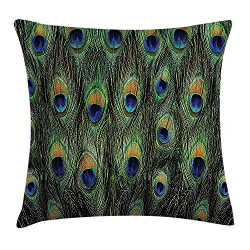 FAFANI Peacock Throw Pillow Cushion Cover, Peacock Tail Feathers Tropical Exotic Animals Close-up Picture Artwork, Decorative Square Accent Pillow Case, 18 X 18 Inches, Green Mustard ()