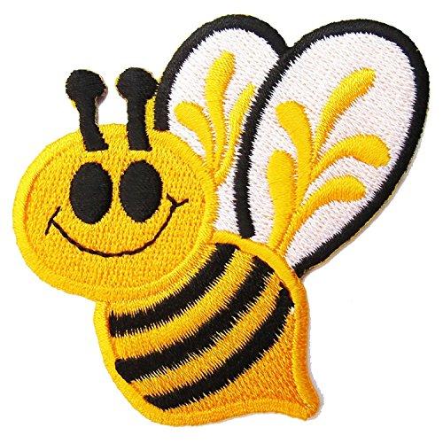 Smiley Bee Cartoon bestickte Aufnäher Bügelbild Cartoon Aufbügler Aufbügler Aufbügeln Handarbeit Baby Kinder Mädchen Frauen Kleidung DIY Kostüm Zubehör (Baby Bee Kostüme)