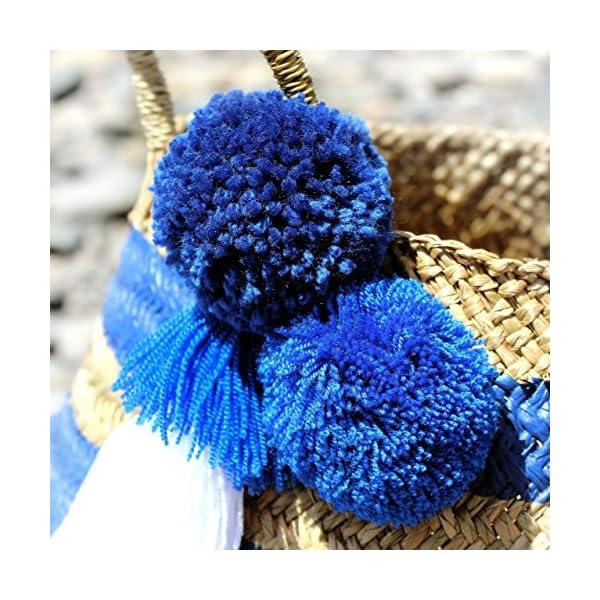 "BrunnaCo ""Stripes Tribe"" Beach Bag in Blue / Pom pom beach bag / Tassel Beach Bag / Striped Bag / Summer Bag / Belly Basket / Panier Boule / Navy Blue - handmade-bags"