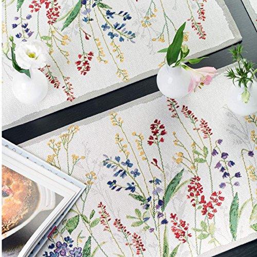 SPARPACK! 4 sander Gobelin Tischsets FLOWER MEADOW 32x48cm