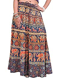 Exotic India Long Sanganeri Printed Skirt With Elephants And Deers