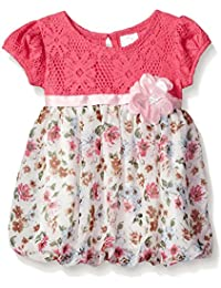 Youngland Baby Girls Crochet Lace Bodice Bubble Hem Dress with Chiffon Print