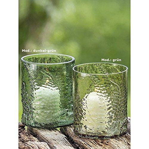 Deko-Kompanie Windlicht aus Glas mit Farn-Relief 12cm Mod. Grün (1 STK.)