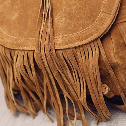 Spalle QPALZM Moda Classic Retro Nappa Zipper Zaino 17.63 Once (oz) Brown