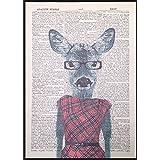 Vintage imprimé cerf Doe Dictionnaire Page mur Art Photo Rouge Tartan robe Lady