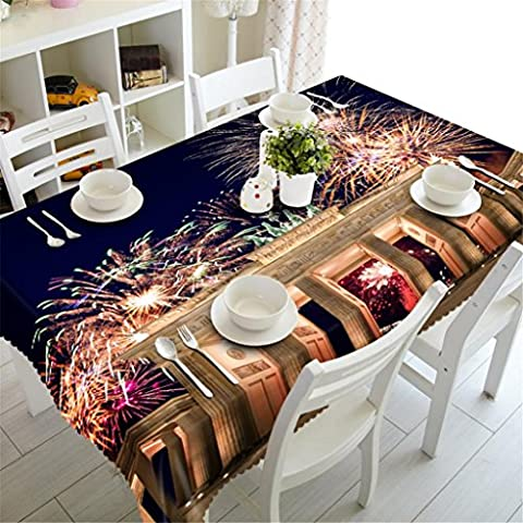 Dbtxwd 3D Tablecloth Arc de Triomphe fireworks Dust-proof Tasteless Thicker Dining table Decoration Table cover ,