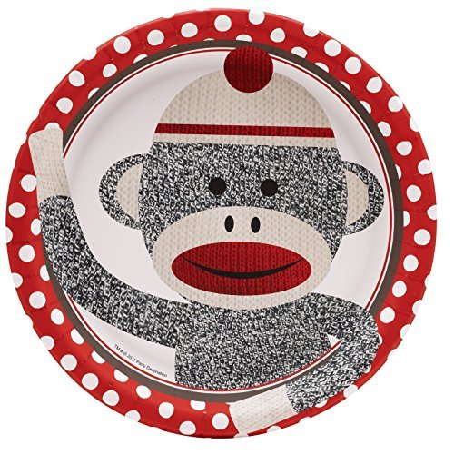 Sock Monkey Party Supplies - Dinner Plates (8) by BirthdayExpress (Sock Monkey Party Supplies)