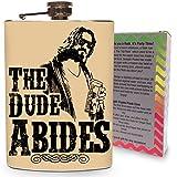 Der Dude Beachtet Fläschchen Edelstahl 8oz Whisky Alkohol Metall Trinken Whiskey Fläschchen Big Lebowski Film–Geschenk-Box